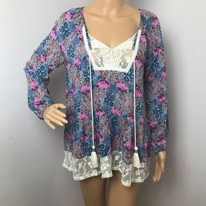 Matilda Jane Blouse Long Sleeves Lace XS Purple